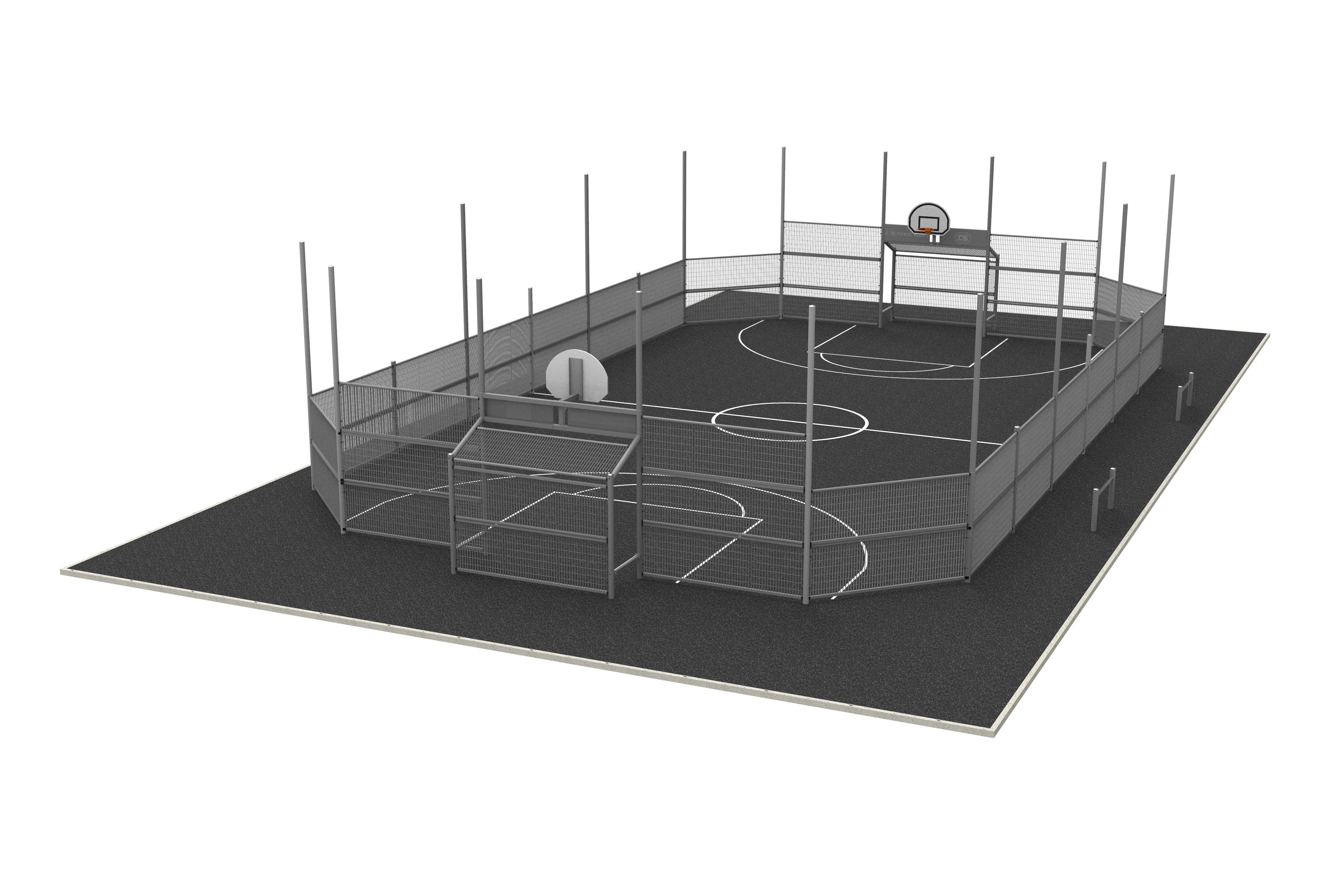 Terrain multisports standard 22.4 m x 13.4 m avec rehausse pare-ballon intégral